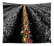 Rows Of Tulips Tapestry
