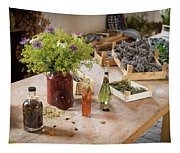 Rustic Wooden Table With Various Herbs And Flowers Tapestry