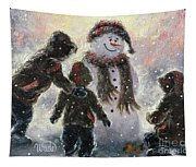 Snowman And Three Boys Tapestry