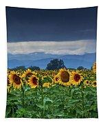 Sunflowers Under A Stormy Sky Tapestry by John De Bord