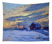 Sunset Over The Farm Tapestry
