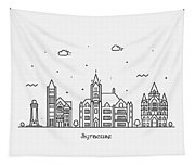 Syracuse, New York Cityscape Travel Poster Tapestry