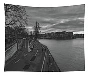 Walking Along The Seine At Sunset Tapestry