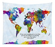 Watercolor World Map Custom Text Added Tapestry
