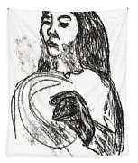 Woman Holding A Hat Tapestry