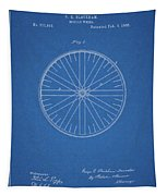 1885 Bicycle Wheel Patent Tapestry