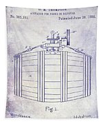 1888 Whiskey Or Beer Barral Patent Blueprint Tapestry