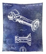 1896 Fire Hose Spray Nozzle Patent Blue Tapestry