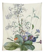 A Bouquet Of Flowers With Insects  Tapestry