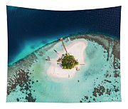 Aerial Drone View Of A Tropical Island, Maldives Tapestry
