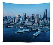 Aerial View Of A City, Seattle, King Tapestry