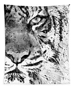 Black And White Half Faced Tiger Tapestry