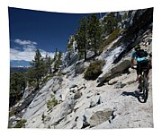 Cyclist On Mountain Road, Lake Tahoe Tapestry