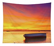 Fishing Boat At Sunset Time Tapestry