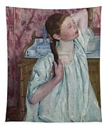 Girl Arranging Her Hair   Tapestry