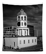 Halifax Town Clock 2017 Black  And White Tapestry