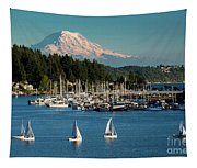 Sailboats At Gig Harbor Marina With Mount Rainier In The Background Tapestry