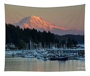 Sunset At Gig Harbor Marina With Mount Rainier In The Background Tapestry
