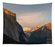 View Of Yosemite Valley From Tunnel View Point At Sunset Tapestry