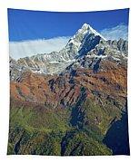 Machapuchare Mountain Fishtail In Himalayas Range Nepal Tapestry by Raimond Klavins