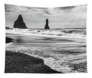 The Dramatic Black Sand Beach Of Reynisfjara. Tapestry