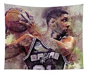 Portrait Of Tim Duncan Tapestry