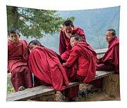 5 Monks On A Break Tapestry