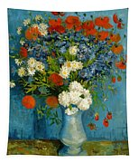 Vase With Cornflowers And Poppies Tapestry