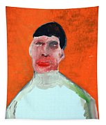 A Man With An Orange Background Tapestry