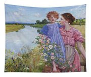 A Mother And Child By A River With Wild Roses 1919 Tapestry