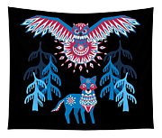 A Northern Folk Winter Woods Midnight Sun Tapestry