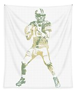 Aaron Rodgers Green Bay Packers Water Color Pixel Art 10 Tapestry