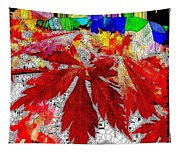 Abstract Fall Acer Stained Glass  Tapestry