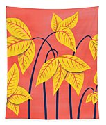 Abstract Flowers Geometric Art In Vibrant Coral And Yellow  Tapestry