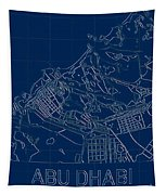Abu Dhabi Blueprint City Map Tapestry by Helge
