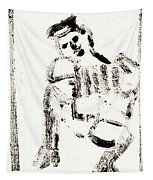 Accordion After Mikhail Larionov Black Ink Painting 1 Tapestry