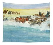 Action From A Ten Thousand Mile Motor Race Tapestry