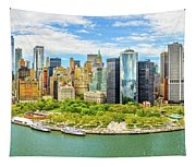 Aerial Panorama Of Downtown New York Skyline Tapestry