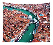 Aerial View Of Grand Canal And Rialto Bridge, Venice, Italy Tapestry