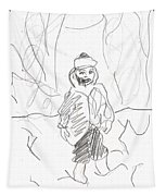 After Billy Childish Girl Pencil Drawing B2-16 Tapestry