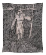 After Billy Childish Pencil Drawing 14 Tapestry