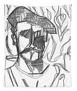 After Billy Childish Pencil Drawing B2-4 Tapestry