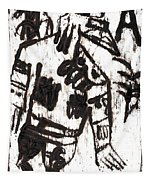 After Mikhail Larionov Black Oil Painting 3 Tapestry