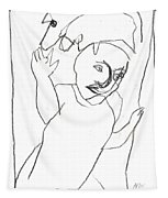 After Mikhail Larionov Pencil Drawing 16 Tapestry