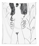 After Mikhail Larionov Pencil Drawing 7 Tapestry