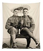 American Soldiers With A Parasol Circa 1915 Tapestry