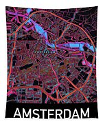 Amsterdam City Map Tapestry by Helge