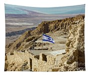 An Israeli Flag Flies Near The Entrance To The Top Of Masada In  Tapestry