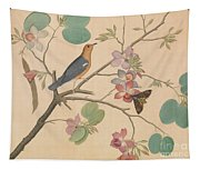 An Orange Headed Ground Thrush And A Moth On A Purple Ebony Orchid Branch, 1778 Tapestry