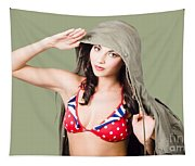 Army Pinup Saluting Retro Fashion In 1940 Style Tapestry